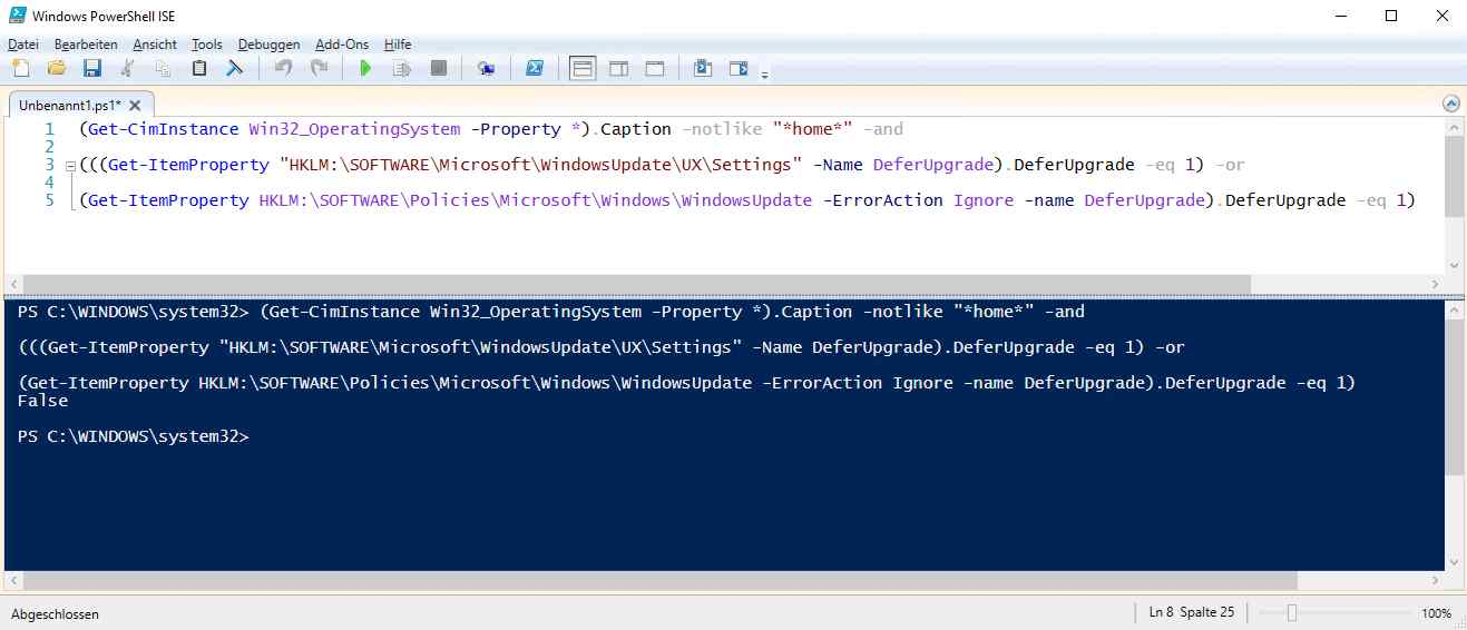 Version von Windows 10 und Service Branch in PowerShell