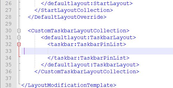 Block für Taskbar-Apps einfügen.