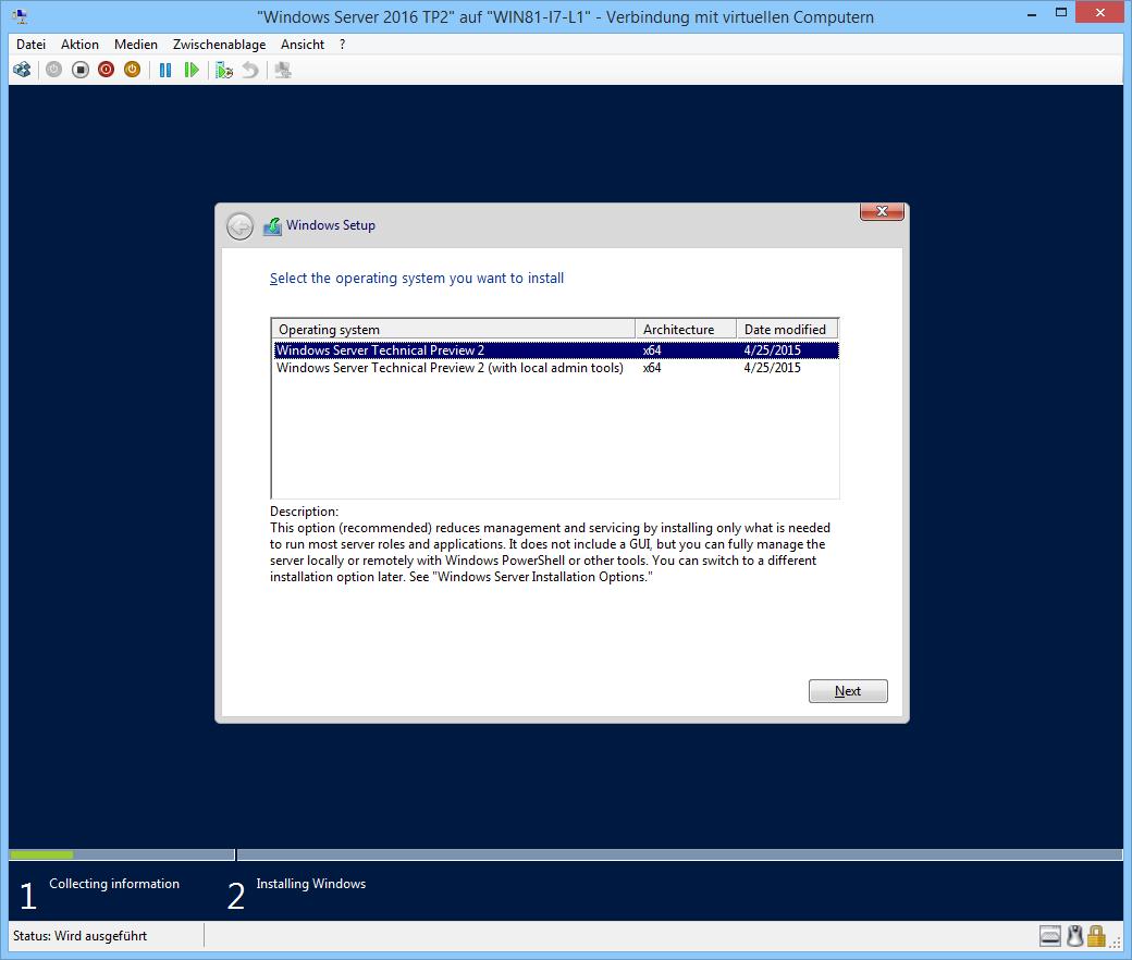Windows Server 2016 TP 2 installieren: Nano, Core, Minimal Interface ...