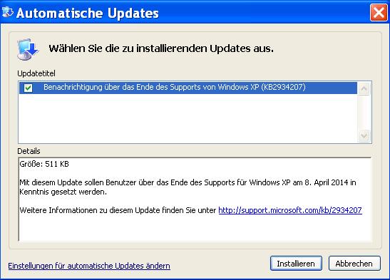 Warnung zu xp support mit script oder gruppenrichtlinien ausblenden windowspro - Finestre all inglese ...