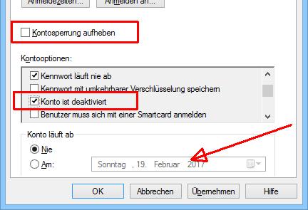 Sperre, Deaktivierung und Ablaufdatum eines Kontos in AD-Benutzer und -Computer.