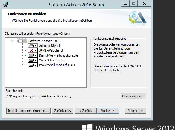 Adaxes unterstützt die Installation aller Komponenten auf einer Maschine oder auch ein verteiltes Setup.