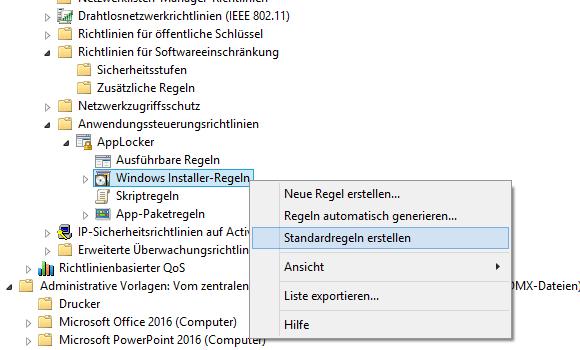 Auch die von AppLocker erzeugten Standardregeln reichen nicht aus.