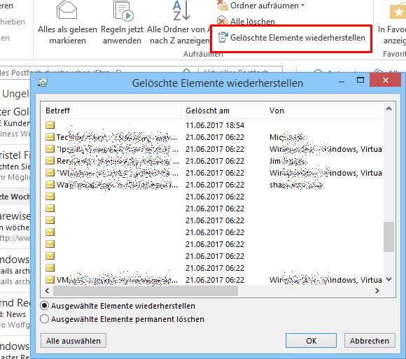 Das Wiederherstellen von endgültig gelöschten Elementen kopiert diese wieder in den Ursprungsordner zurück, jedoch nur in OWA.