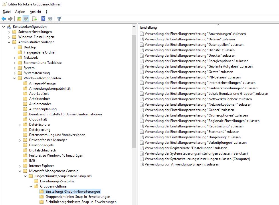 Neue GPO-Einstellungen für Windows 10 1809 und Server 2019, ADMX