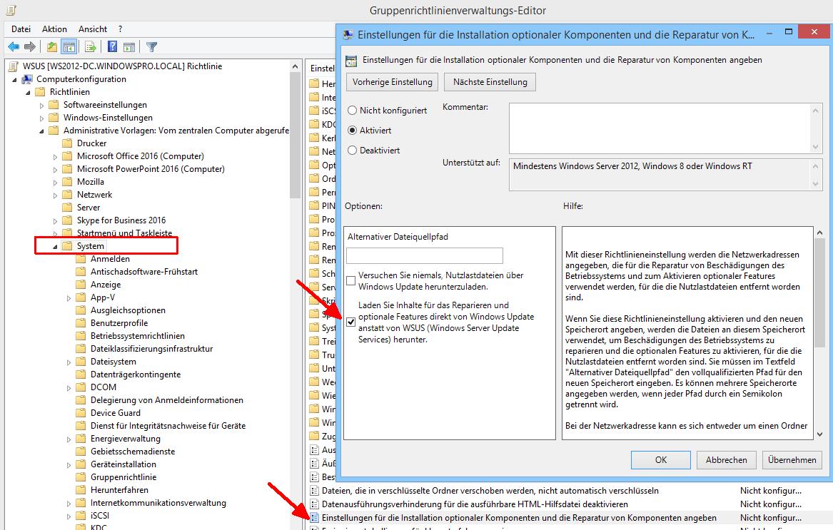 Optionale Features (RSAT 1809) in WSUS-Umgebungen installieren
