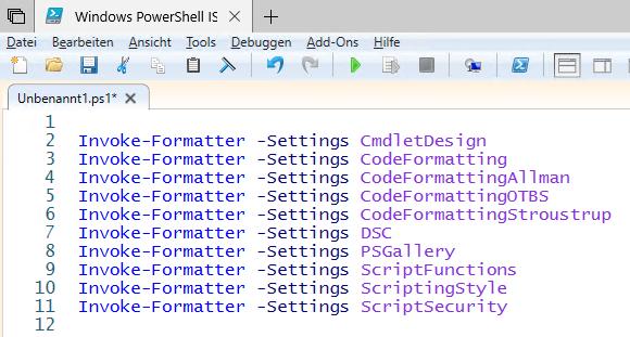 Formatierungsoptionen von Invoke-Formatter