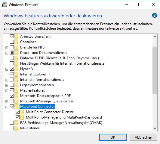 Hinzufügen des MultiPoint Connectors als Windows-Feature
