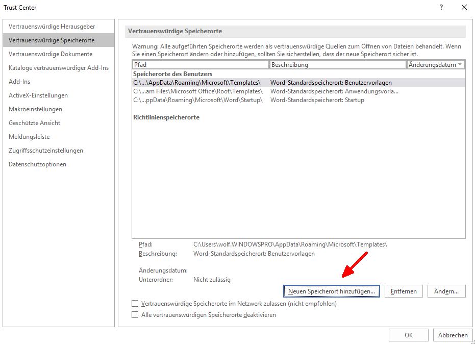 Makros in Office 2016 / 2019 einschränken oder blockieren mit