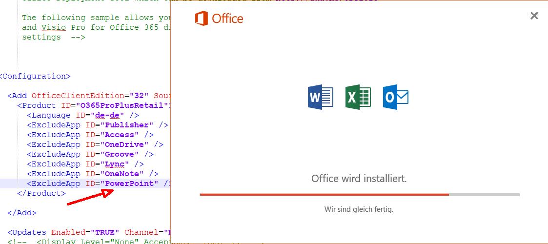 Nur ausgewählte Office-Programme installieren, Setup mit