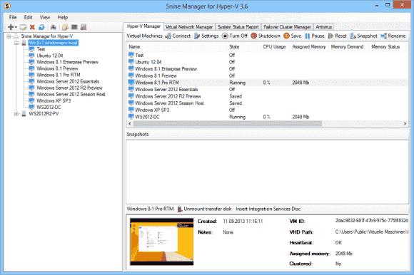 Das Tool von 5nine gleicht stark dem Hyper-V Manager von Microsoft, kann aber fast alle Versionen des Hypervisors verwalten.