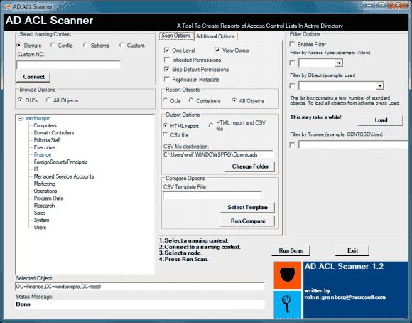 Der AD ACL Scanner berichtet über alle Zugriffsrechte, die User oder Gruppen auf bestimmte AD-Objekte haben.