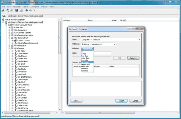 Der AD Explorer bietet eine feiner einstellbare Suche als etwa das Active Directory Verwaltungscenter.