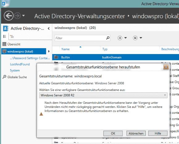 Wenn DCs unter Server 2019 laufen, dann lässt sich die Funktionsebene meximal auf 2016 anheben..