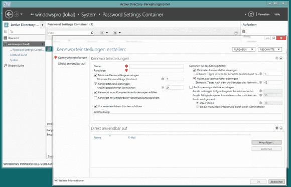 Das AD-Verwaltungscenter unter Windows 8 erlaubt die komplette Definition und Zuweisung von Regeln an einem Platz.