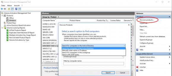 Rechner mit installierten Microsoft-Produkten lassen sich auf mehrere Arten finden.
