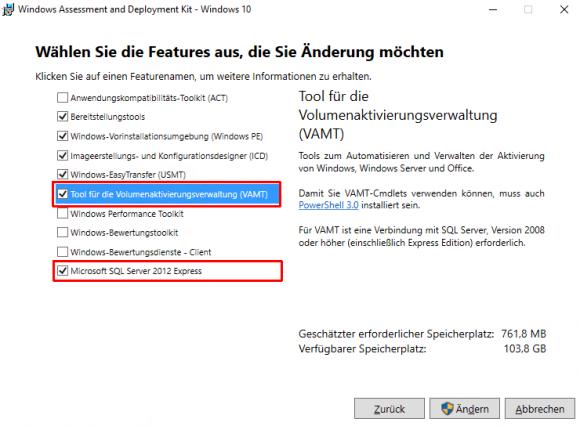 Das Setup für Windows ADK kann gleich SQL Server Express installieren.