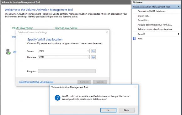 Das Volume Activation Management Tool (VAMT) mit der Datenbank verbinden.