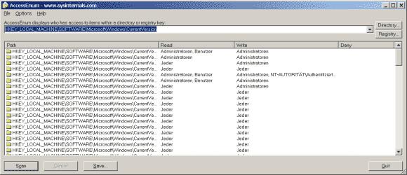 Das Tool untersucht die Rechte auf Registry-Einträge nach dem gleichen Prinzip wie das Dateisystem.