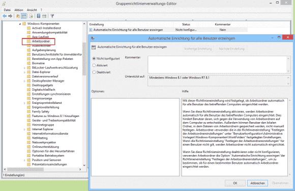 Wenn Arbeitsordner ohne Zutun der User eingerichtet werden sollen, dann kann man sie per GPO auf bestimmte PCs einschränken.