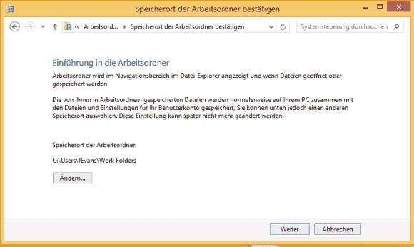 Wenn die Workfolder-URL per GPO übermittelt wurde, dann gelangt der User sofort zum 2. Schritt.