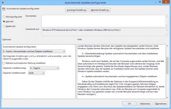 Automatische Updates lassen sich nach einem Zeitplan installieren.