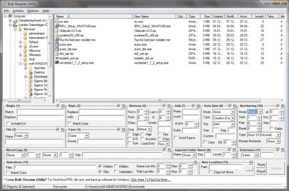 Das Bulk Rename Utility konfrontiert den Anwender mit vielen Optionen, die ein fast beliebiges Umbenennen von Dateien erlauben.