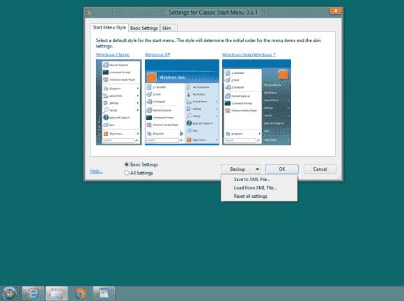 Classic Shell bringt mehrere Funktionen des alten Desktops zurück. Die Einstellungen lassen sich in einer XML-Datei speichern.