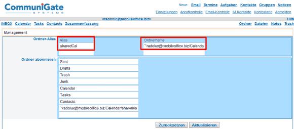 Für ältere Groupware-Clients müssen Aliase für Freigabe-Ordner eingetragen werden.
