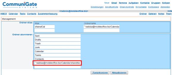 Empfangene Freigaben müssen im WebMail-Client manuell eingetragen werden.