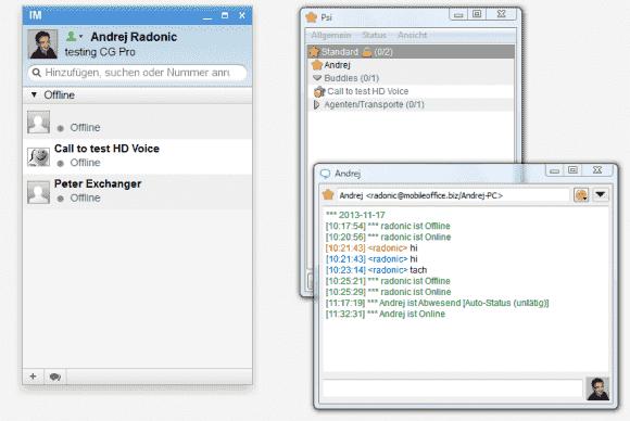 CommuniGate Pro unterstützt neben Pronto! auch gängige XMPP-Clients anderer Anbieter (rechts Psi XMPP-Client)