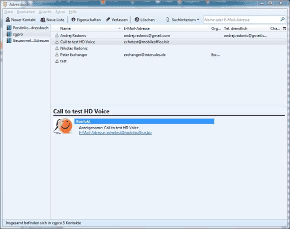 Adresse aus CommuniGate Pro wird in Thunderbird mit Hilfe von SoGo angezeigt.