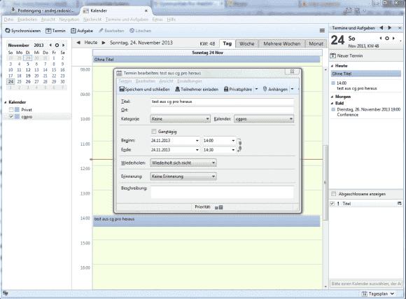 Bearbeiten eines Termins, der in einem Kalender unter CommuniGate Pro gespeichert ist, in Thunderbird Lightning.