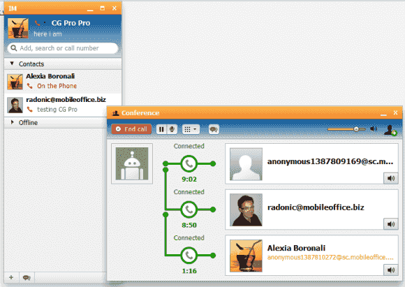 Telefonkonferenzen lassen sich zwischen vielen Anwendern mit wenigen Klicks oder per Drag & Drop initiieren.