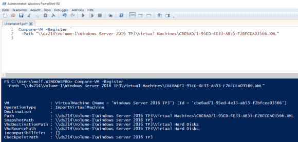 Compare-VM prüft VMs auch vor dem Import auf einem Hyper-V-Server.