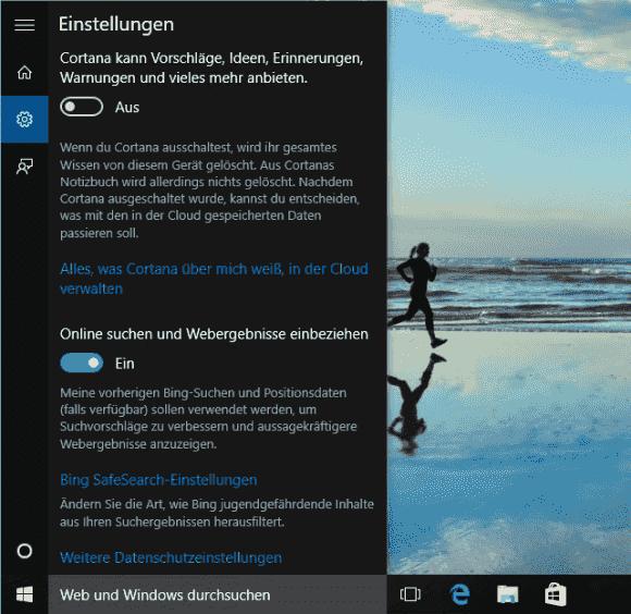 Cortana und die Bing-Suche lassen sich über den gleichen Dialog abschalten.