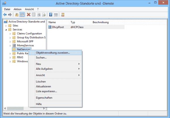 Das Autorisieren eines DHCP-Servers lässt sich in Active Directory-Standorte und -Dienste an Benutzer delegieren.