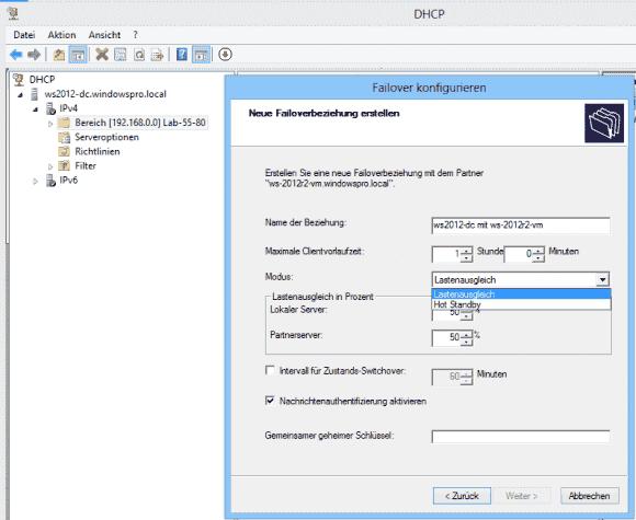 Der wichtigste Schritt bei der Konfiguration von DHCP-Failover besteht in der Wahl zwischen Lastenausgleich und Hot Standby.