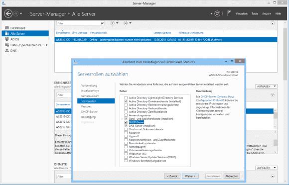 Für die Installation des DHCP-Dienstes ist nun der Server Manager zuständig, der ihn als Rolle hinzufügt.