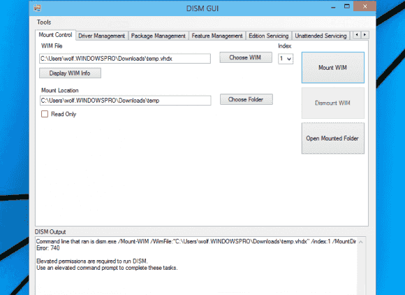 DISM GUI bildet die Parameter ab, mit denen sich WIM-Archive verwalten lassen. Eine Ausführeung mit administrativen Rechten ist erforderlich.