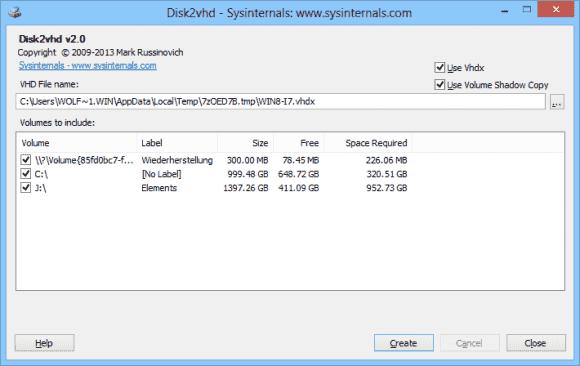 Disk2VHD 2.0 ist gewohnt einfach zu bedienen und erfordert keine Installation.