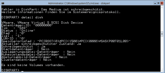 Mit dem Befehl detail zeigt diskpart an, ob das Laufwerk schreibgeschützt ist.