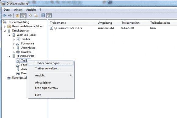 Die Treiber für 32- und 64-Bit-Clients lassen sich remote über die Druckverwaltung installieren.