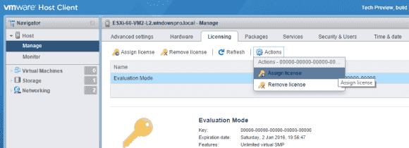 Lizenzschlüssel für ESXi 6.0 im Host-Client eingeben.