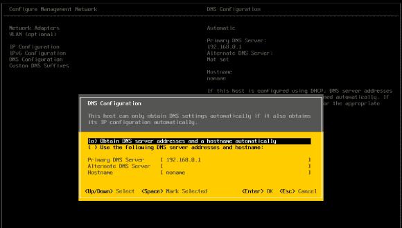 Die ESXi-Konsole bietet eine Reihe von Einstellungsmöglichkeiten und erlaubt auch die Änderung des Hostname.