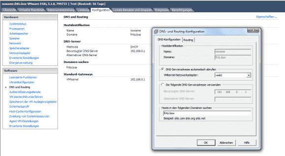 Der einfachste Weg zur Änderung des ESXi-Hostname führt über die GUI des vSphere Client
