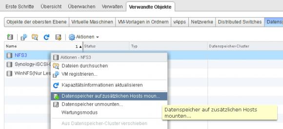 NFS-Datastore mit weiteren Hosts verbinden