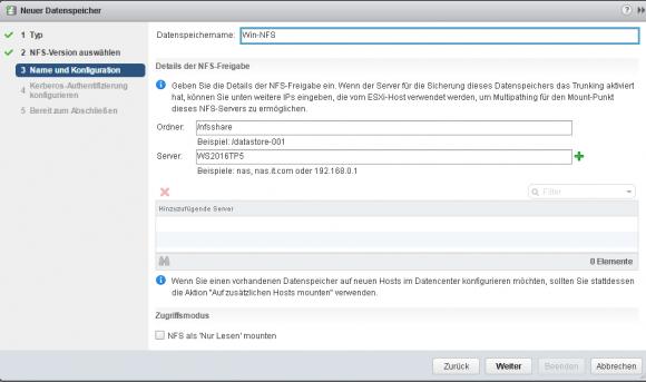Eingabe von Pfad und Server für die NFS-Freigabe. Hier lässt sich auch Session Trunking einrichten.