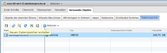 Neuen Datenspeicher im vSphere Web Client anlegen.