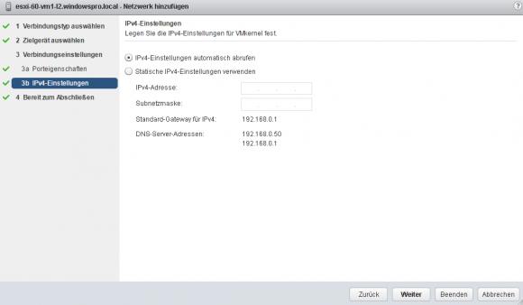 Neuer VMkernel-Adapter: IP-Einstellungen konfigurieren.